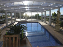 High swimming pool enclosure / telescopic / metal / manual