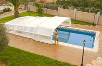 Low swimming pool enclosure / telescopic / polycarbonate / metal
