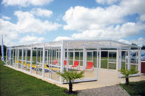 High swimming pool enclosure / telescopic / polycarbonate / metal