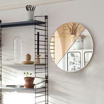 Wall-mounted mirror / contemporary / round / commercial