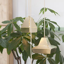 Pendant lamp / contemporary / brass / white