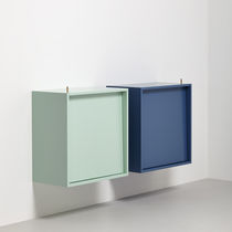 Wall-mounted sideboard / contemporary / oak / lacquered MDF