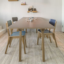 Contemporary dining table / oak / birch / plywood