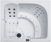Above-ground hot tub / built-in / rectangular / 4-seater
