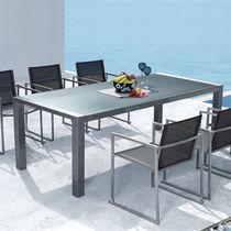 Contemporary table / glass / rectangular / garden