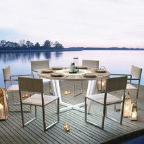 Contemporary table / wooden / round / garden