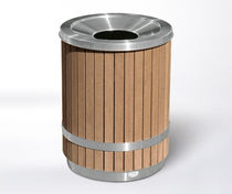 Public trash can / stainless steel / wooden / with built-in ashtray