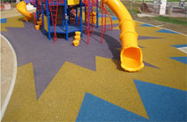 Rubber floor covering / colored / concrete look / high-performance