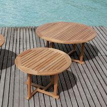 Contemporary table / teak / round / garden