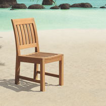 Contemporary chair / with armrests / teak / garden