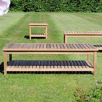 Contemporary coffee table / teak / rectangular / garden