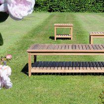 Contemporary side table / teak / square / garden