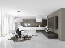 Contemporary kitchen / wood veneer / high-gloss / lacquered