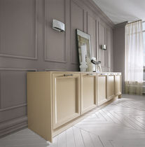 Contemporary sideboard / lacquered wood / beige