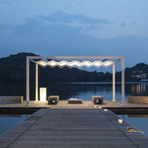 Self-supporting pergola / aluminum / stainless steel / PVC fabric sliding canopy