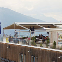 Self-supporting pergola / aluminum / fabric sliding canopy / custom