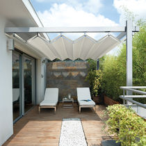 Wall-mounted pergola / aluminum / PVC fabric sliding canopy / custom