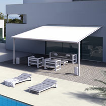 Wall-mounted pergola / aluminum / with sliding canopy / custom