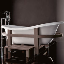 Bathtub with legs / oval / wooden / acrylic