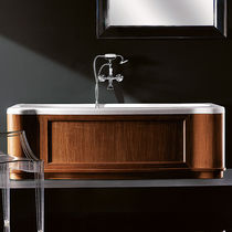 Built-in bathtub / wooden / acrylic / hydromassage