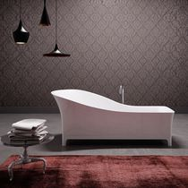 Bathtub with legs / composite / wooden