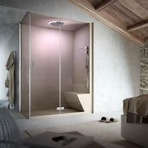 Steam shower cubicle / multi-function / glass / chromotherapy