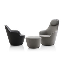 Contemporary armchair / fabric / swivel / high back