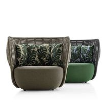 Contemporary armchair / fabric / steel / synthetic fiber