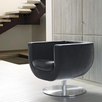 Contemporary armchair / swivel / central base / fabric
