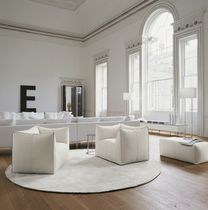Contemporary armchair / fabric / leather / by Mario Bellini