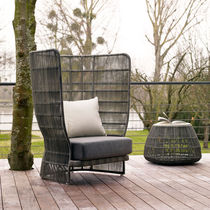 Contemporary armchair / resin wicker / garden / high back