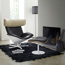 Scandinavian design armchair / leather / with headrest / with footrest