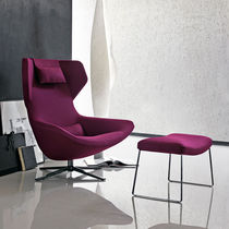 Contemporary armchair / fabric / leather / high back