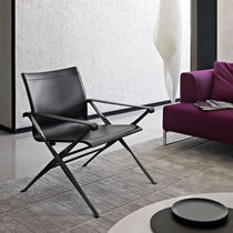 Contemporary armchair / folding / fabric / leather