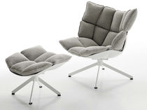 Contemporary armchair / canvas / with footrest / swivel
