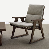 Contemporary armchair / teak / fabric / garden