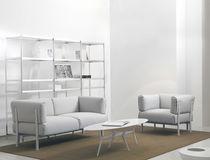 Contemporary sofa / leather / aluminum / fabric