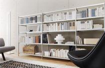 High bookcase / modular / contemporary / aluminum