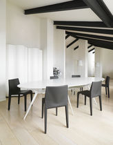 Contemporary chair / stackable / oak / solid wood