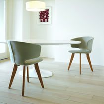 Contemporary restaurant chair / with washable removable cover / swivel / stackable