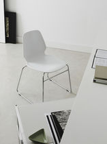Contemporary chair / on casters / stackable / 100% recyclable
