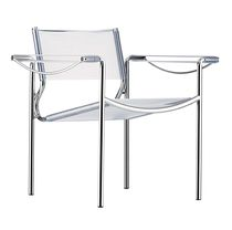 Contemporary armchair / leather / steel / PVC
