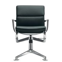 Adjustable-height conference chair / swivel / with armrests / fabric