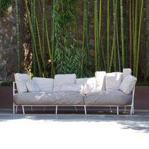 Contemporary sofa / garden / acrylic fabric / steel