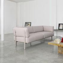 Contemporary sofa / fabric / leather / aluminum