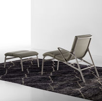Contemporary lounge chair / metal / leather / fabric