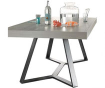 Contemporary dining table / laminate / lacquered steel / rectangular