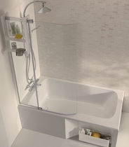Free-standing bathtub-shower combination / rectangular / acrylic