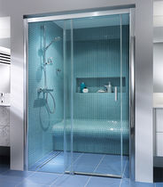 Walk-in shower / glass / rectangular / with sliding door