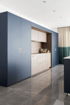 Contemporary kitchen / wood veneer / walnut / marble